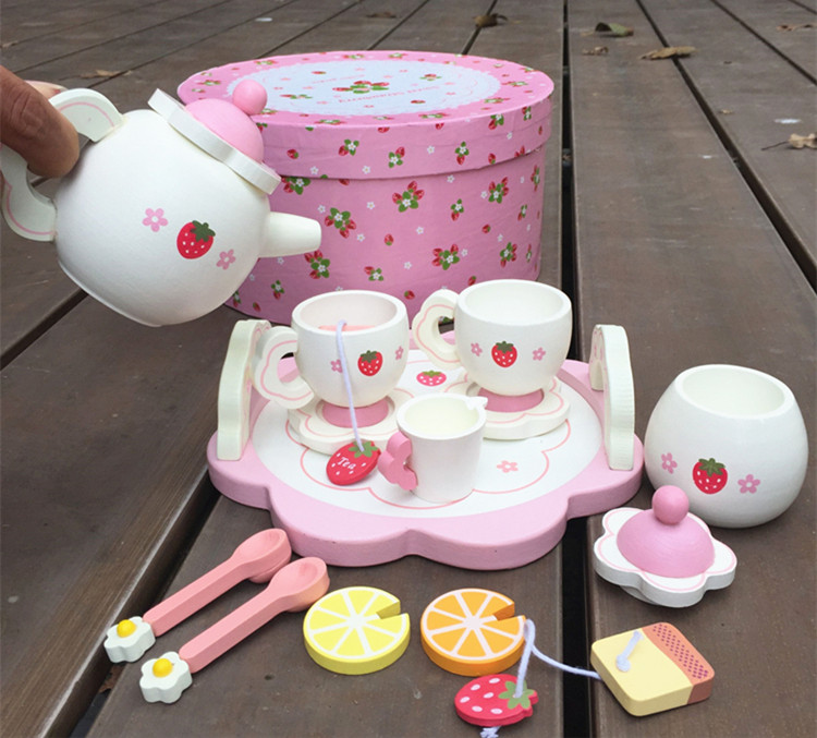 Baby Toys Strawberry Simulation Tea Set Wooden Toys Cup Set Pretend Play Kitchen Toys Educational Infant Birthday Gift baby toys japan simulation electric rice cooker bowl wooden toys food pretend play baby simulation kitchen toy set birthday gift
