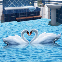 Floor painting HD blue water ripples swan Waterproof Bathroom kitchen balcony PVC Wall paper floor mural 3D wallpaper sticker