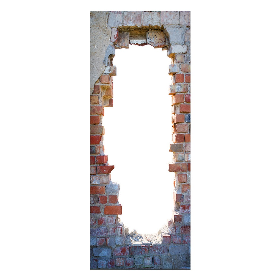 Image 5 - Vintage Bricks Wall Effect Broken Wall Retro Door Murals Wall Mural Door Decals Wall Door Stickers Wallpaper Mural Heart Printed-in Wall Stickers from Home & Garden