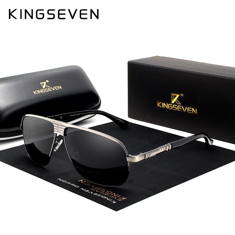 KINGSEVEN New Retro Unisex Aluminum Magnesium Mens Sunglasses Polarized Vintage Eyewear Accessories Sun Glasses For Men N706