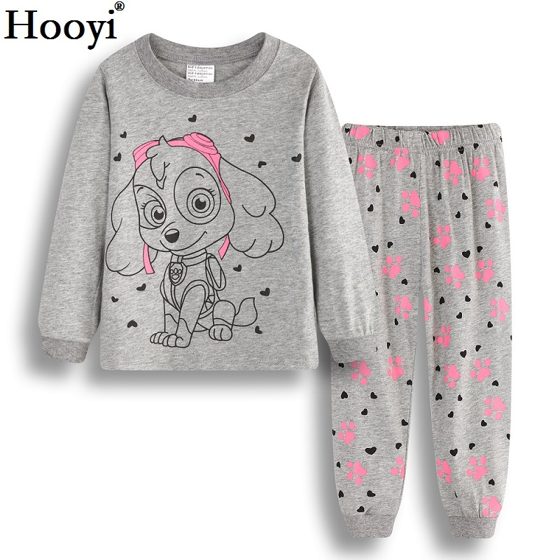 Hooyi Dog Baby Girls Pajamas Suits 2 3 4 5 6 7 years Children Clothes Sets Girl Clothes sets T-Shirts Pant Sleepwear 100% Cotton 1