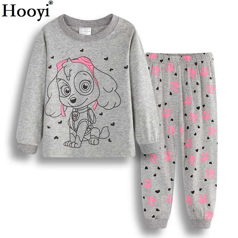 8cf63258b542 Hooyi Dog Baby Girls Pajamas Suits 2 3 4 5 6 7 years Children Clothes Sets