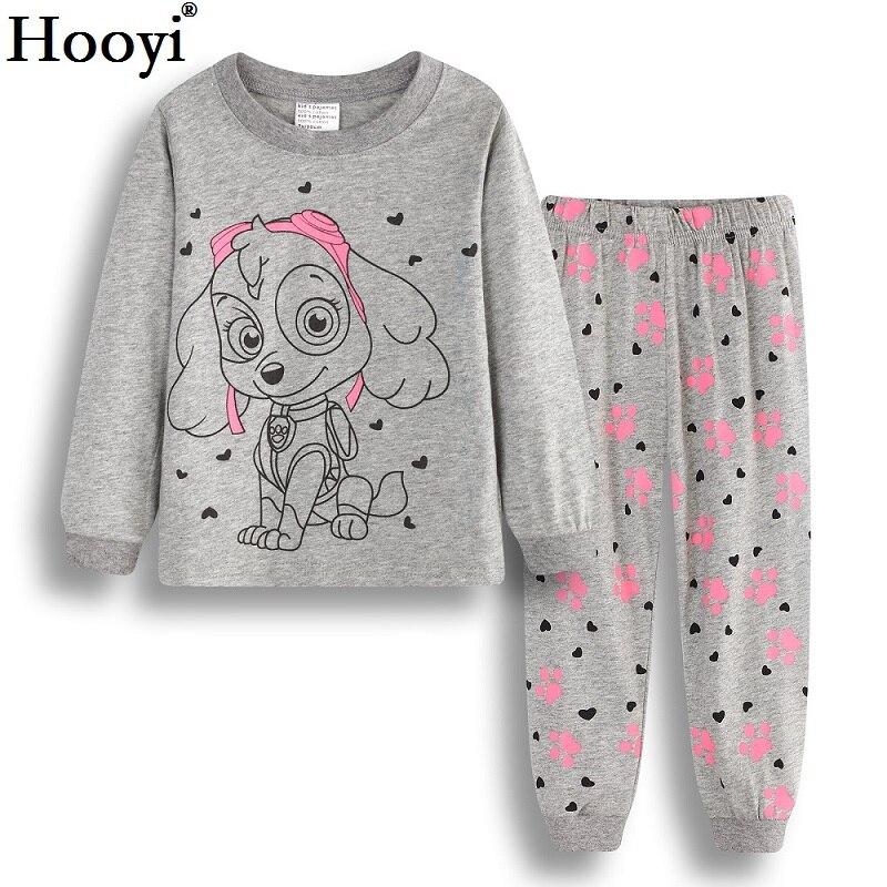 Hooyi perro bebé niñas pijamas trajes 2 3 4 5 6 7 años niños ropa Conjuntos Niña ropa conjuntos camisetas pantalón ropa de dormir 100% algodón