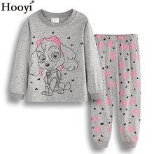 3a56cec6acbf5 Hooyi Chien Bébé Filles Pyjamas Costumes 2 3 4 5 6 7 ans Enfants Ensembles  de Vêtements Fille Vêtements ensembles T-Shirts Panta.