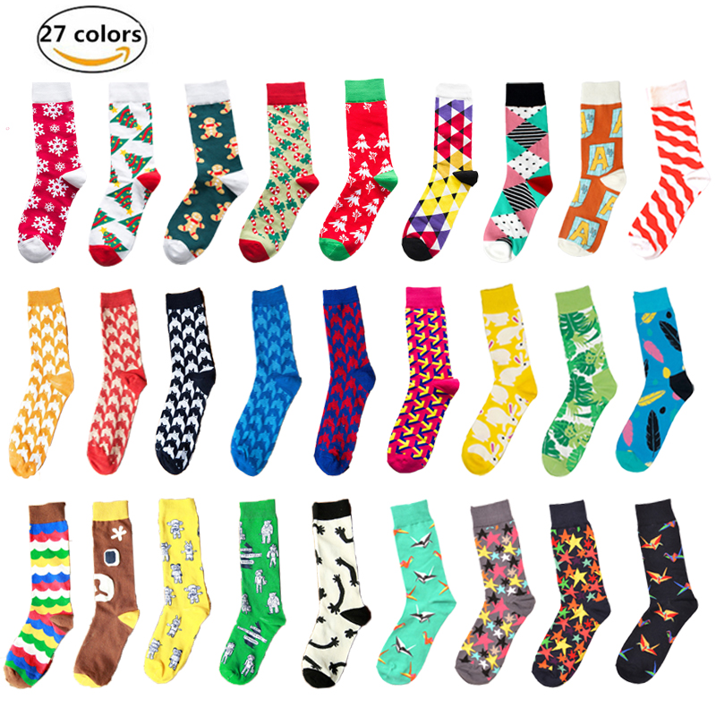 New Casual Combed Cotton Colorful Men Funny Unisex Casual Cotton Cute Happy   Socks   Fashion Mens Women harajuku   socks   men