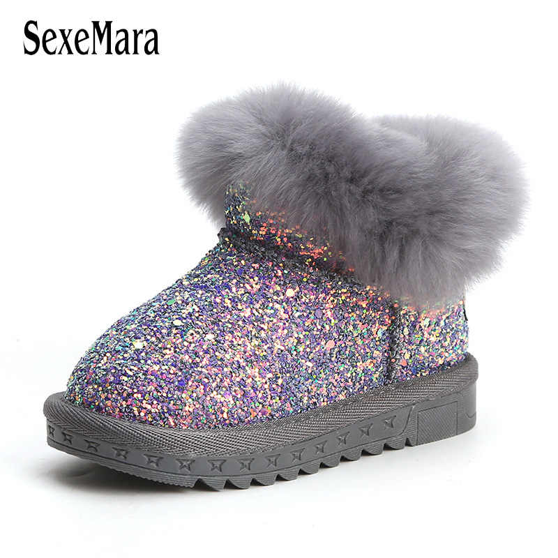 Baby Shoes Winter Toddler Girl Shoes Really Fur Shoes for Baby Boy Light  Bling Newborn Infant 807eb26da35f