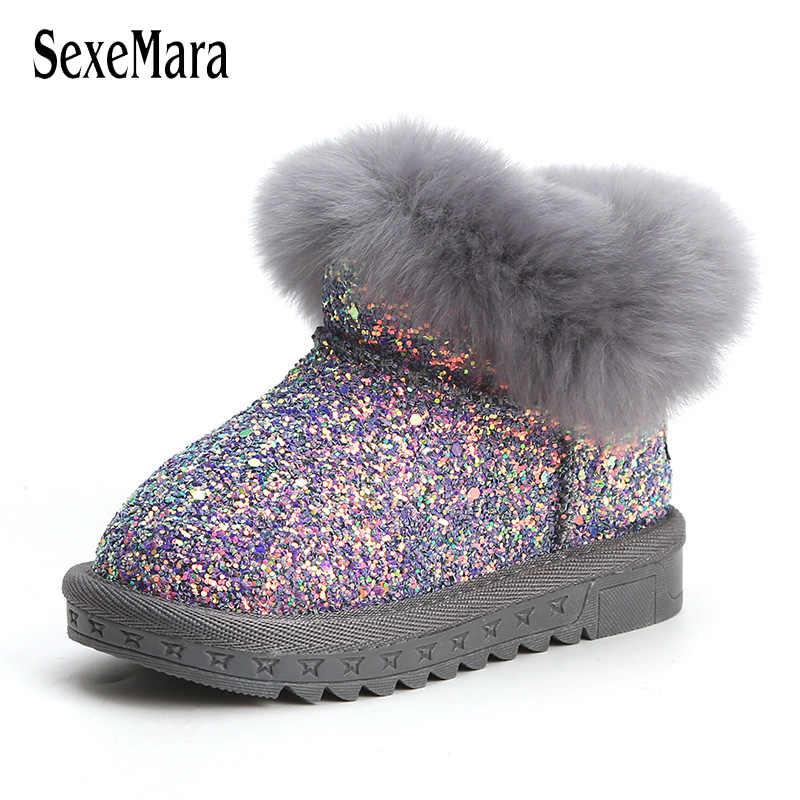 53f9ea212 Детская обувь зимняя обувь для маленьких девочек действительно меховая обувь  для маленьких мальчиков свет Bling новорожденных