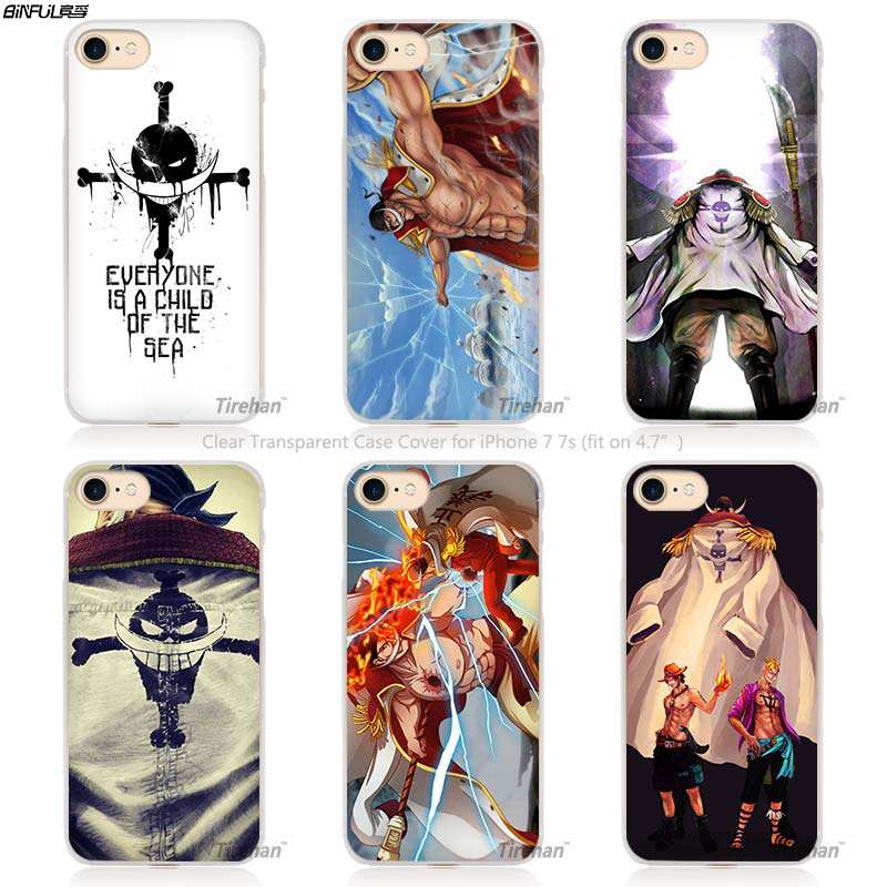 BiNFUL One piece White beard flag Design Hard Transparent Phone Case Cover Coque for Apple iPhone 4 4s 5 5s SE 5C 6 6s 7 Plus