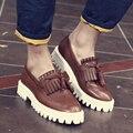Новый Баллок мужской моды мужской кожи туфли на платформе увеличился Корейских мужчин из натуральной кожи Оксфорд brogue квартиры обувь