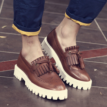 New Bullock Shoes fashion male leather platform shoes increased Korean men genuine leather Oxford brogue flats shoes