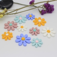 10/5pcs/lot 30/40MM Fashion Resin New Eight-Petal Flower Flatback Cabochon Beads For Jewelry Making Decoration Accessories