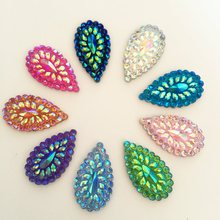 AB Resin Bling drop 10pcs 16mm*28mm Flatback Rhinestone Wedding decoration Clothing accessories 2 Hole D33