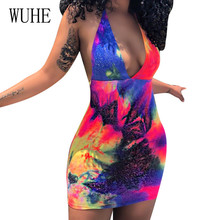 WUHE Sexy Open Back Fashion Print Slim Dress Deep V-neck Hollow Out Bodycon Vintage Mini Summer Sleeveless Short Dresses