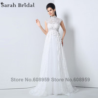 2015 Elegant Lace Flowers High Neck Formal Evening Dresses White A Line Prom Dresses Special Occasion
