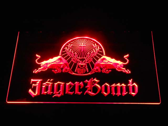 a233 Jagermeister Jager Bomb Bull Wine LED Neon Sign