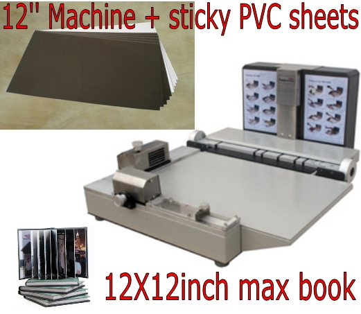 12x12inch Photo book maker mounter Flush mount album binding machine + supplies PVC sticky sheets 400pcs Bundle 12inch photobook making machines package flush mount album maker restaurant menu binding machine combo kits