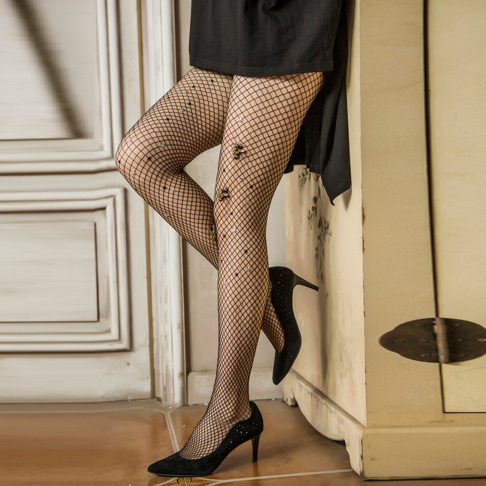 Sexy Thigts Fishnet Sock Hollow out Lady Slim Collant Fantaisie Fishnet Body Socks 2017 Mesh Black Casual Hosiery