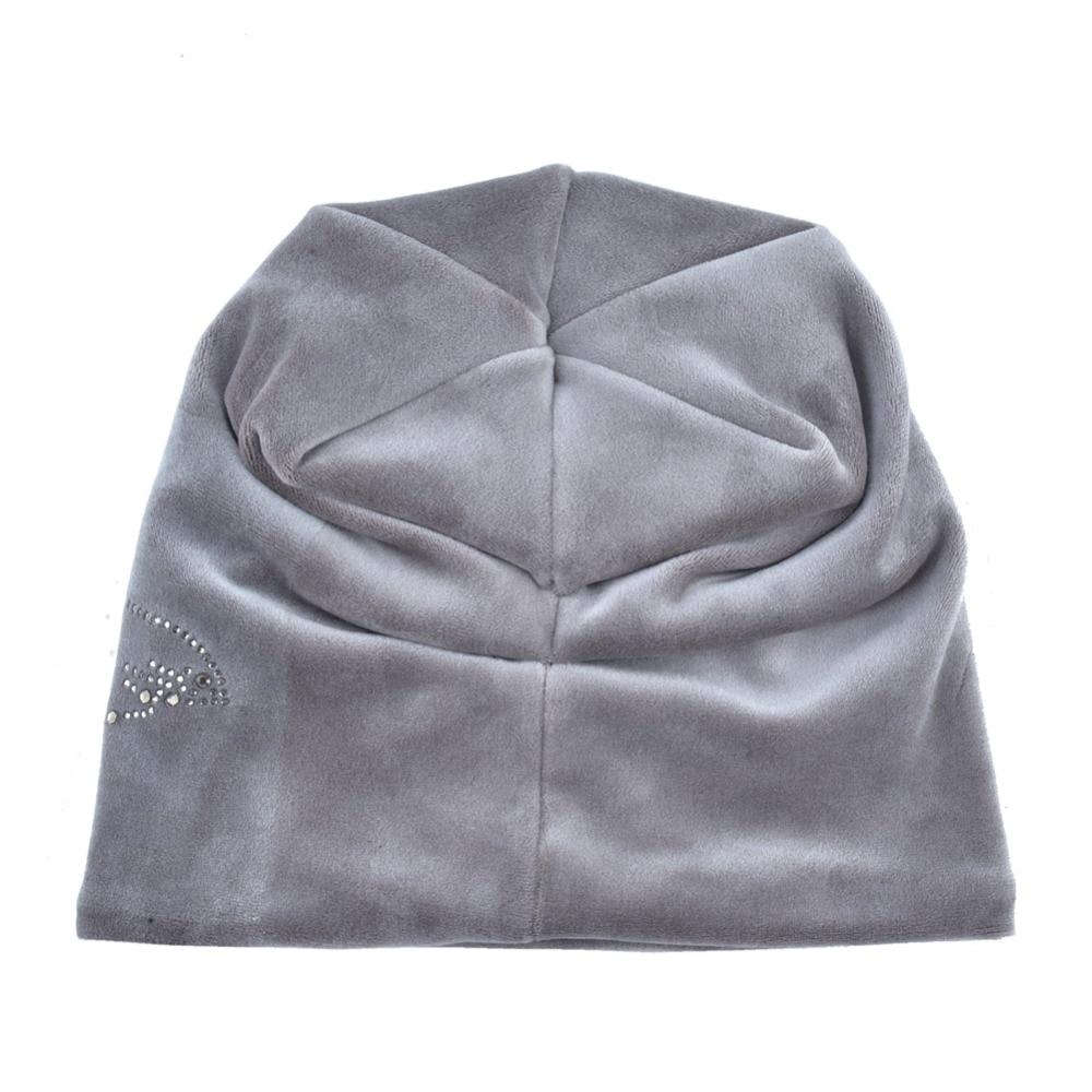 Women's Fashion Rhinestone Flower Hat Scarf Winter Warm Beanies Scarves Set For Girls Thick Velvet Bonnet Femme Skullies Caps 3