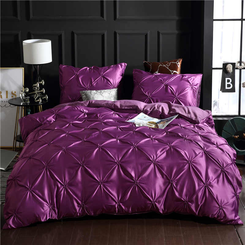 Luxury Pinch Pleat Duvet Cover Sets Single Double Queen King Size Black White Bedding Bed Linen Solid Bedding Satin Bedclothes