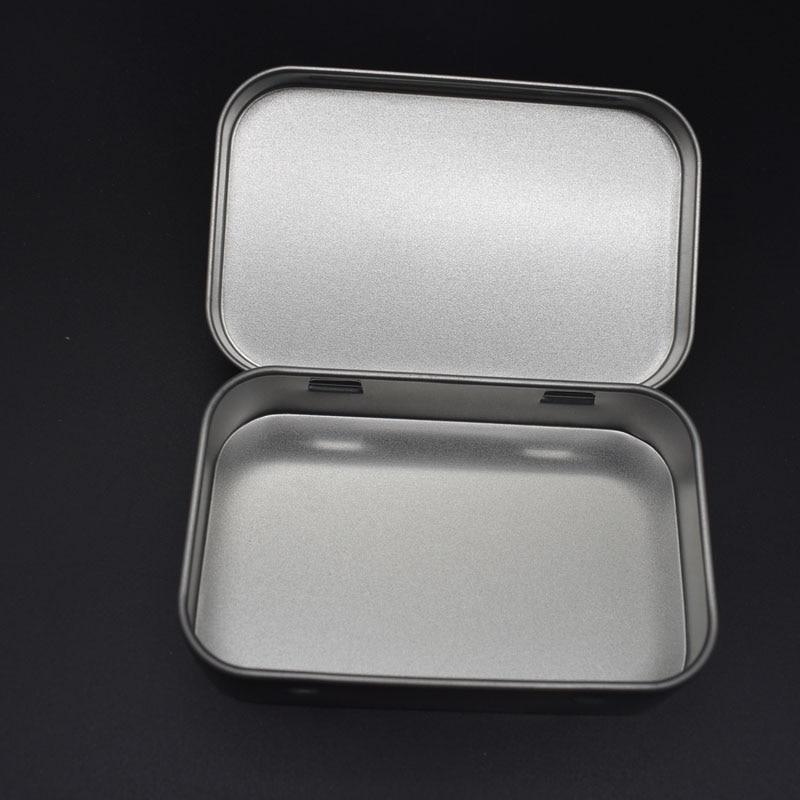 Storage Box Storage Kit Tin Hinged Silver Small Empty Plain Metal Storage Bit Box Case Organizer For Money Coin Candy Keys