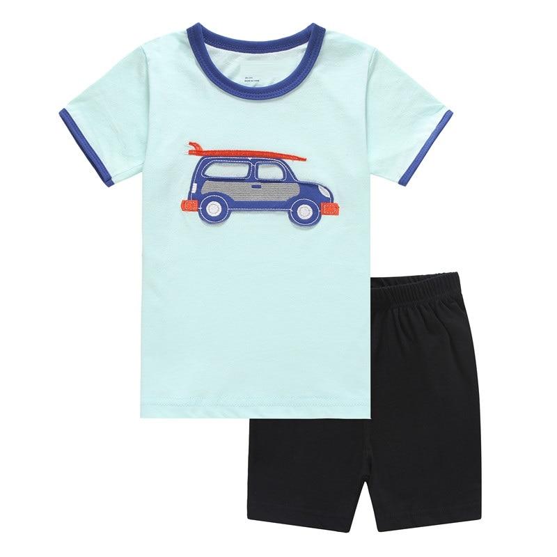 2018 Fashion Boys Pajamas Suit Summer Children Dinosaur Baby Sleepwear Baby Boy's Clothes 100% Cotton Tee shirt Short Pants Soft 4
