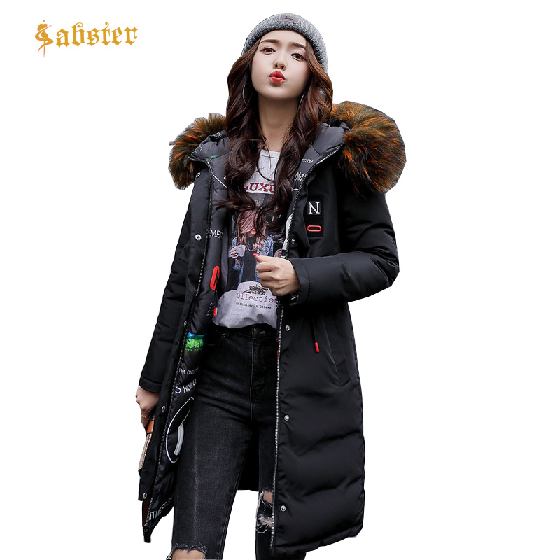 Women Coat Jacket Length Woman   Parka   With Fur Collar Winter Thick Coat Women 2017 New Winter Double Side Wear Outwear XZ426