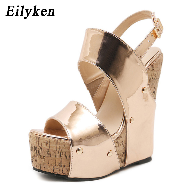 19e8490c6877fa Eilyken 2018 New Golden Women Wedge Gladiator Sandals shoes Back Strap  Fashion High heel Sandals Size 35 40-in High Heels from Shoes on  Aliexpress.com ...