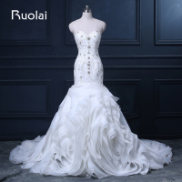 Sang trọng New Bất Wedding Gown Sweetheart Beading Pha Lê Top Organza Ruffles Mermaid White Wedding Dresses đối Bridal ASAFN66