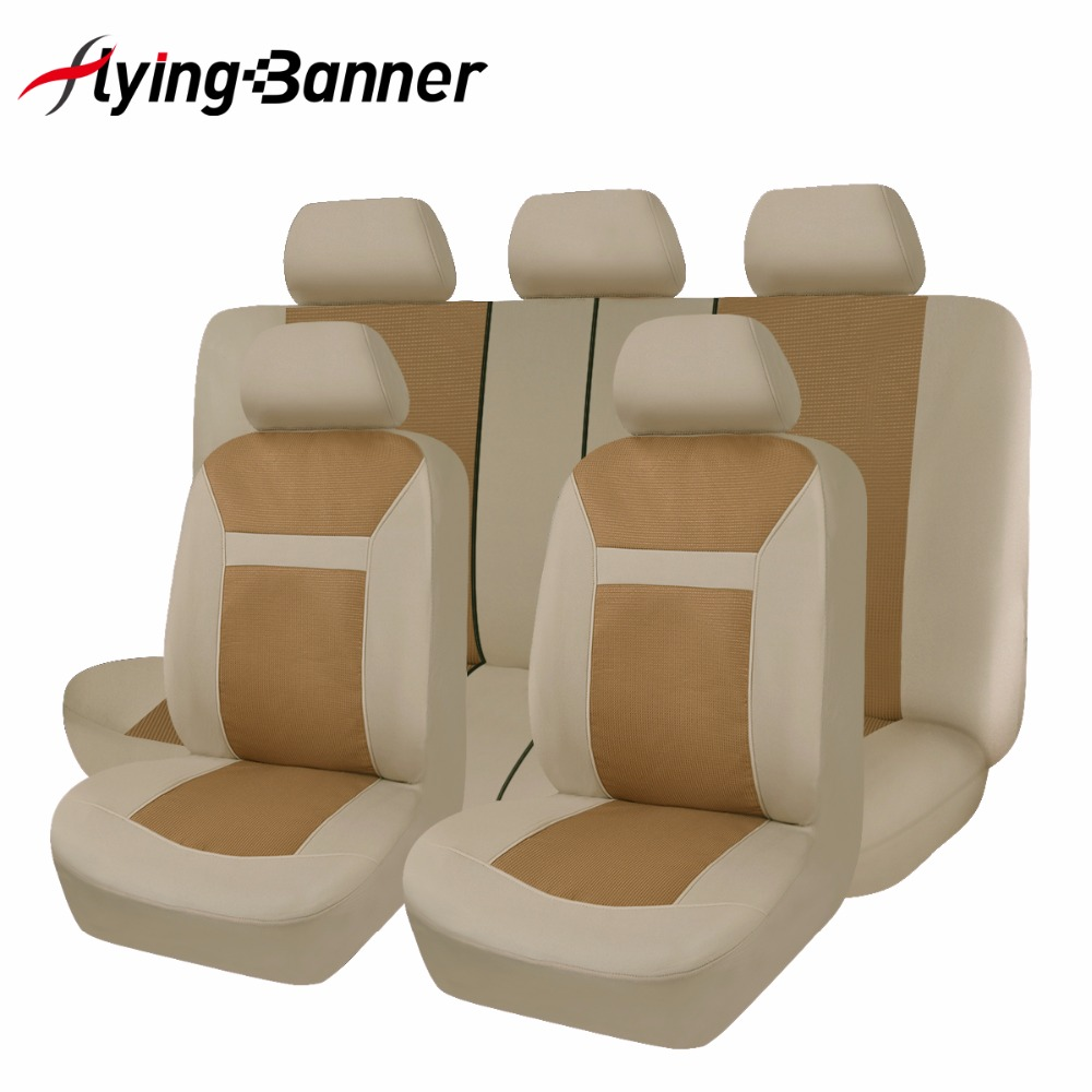 lidojošsBanner Polyster + modes žakarda pilna automobiļa sēdekļa vāka komplekts Universāls vairums interjera piederumu automobiļi Sēdekļu pārvalki