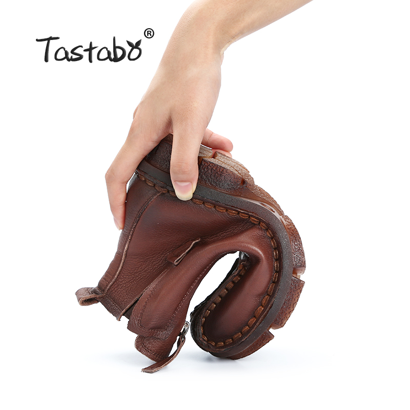 Tastabo Genuine Leather Ankle Boots Velvet Handmade Lady soft Flat shoes comfortable Casual Moccasins Women's shoes