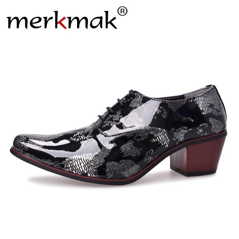 Merkmak 2018 Fashion Men Dress Shoes High Heels Italian Leather Oxford Shoes Man Pointed Toe Shoes Wedding Formal Party Nighclub