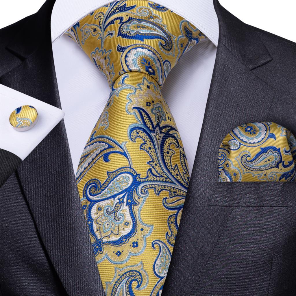 Men Necktie New Designer Gold Blue Paisley Wedding Tie For Men Handkerchief Cufflink Silk Tie Set DiBanGu Business Party MJ-7216