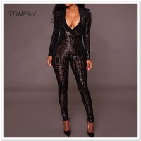 Women Sexy Sequined Shiny Transparent Jumpsuit Suit Glitter Deep V Low Cut Mesh Pole Dancing Bodysuit Long Sleeve Skinny Rompers