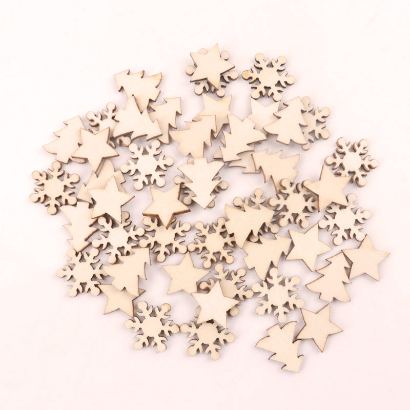 Handmade Wooden Crafts Accessory Home Decoration Scrapbookings DIY Mix Christmas Tree Snowflake Stars Wood Ornaments 16mm 100pcs