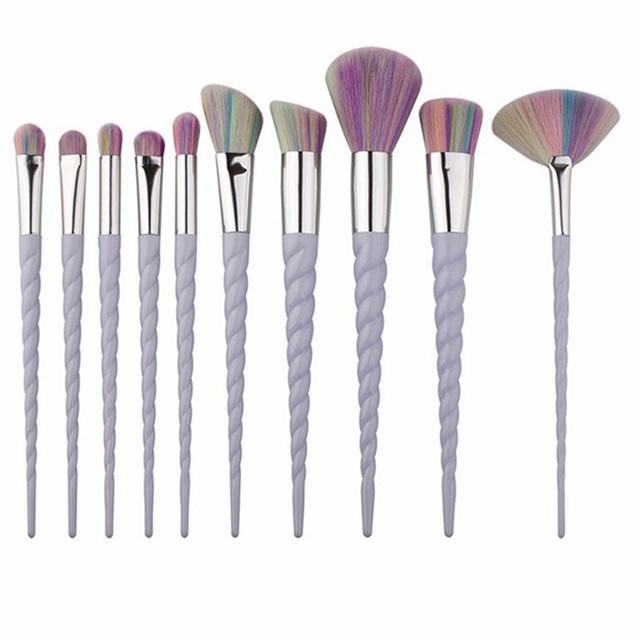 Fashion 10pcs Unicorn Diamond Crystal Colorful Makeup Brushes Set Foundation Blending Power Eyeshadow Cosmetic Make Up Tools Set
