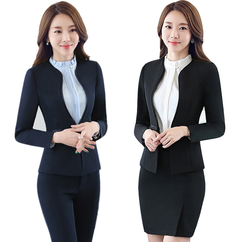 Women Blue Blazer Set Two pieces Suits Spring Autumn Ladies Formal Skirt Suit Office Uniform Style Female Business Suit For Work