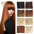 28Colors Brazilian Virgin Hair Clip In Human Hair Extensions 7pcs Full Head Set 70g Clips Hair Aplique Tic Tac Cabelo Humano