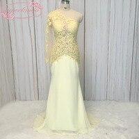 Superkimjo黄色イブニングドレス床の長ワンショル