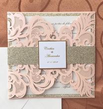 Light Peach Blush Laser Cut Wedding Invitations Card 100pcs