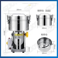 Swing Type 2500G Portable Corn Grinder Machine Martensitic Stainless Steel Electric Herb Miller Food Mill Pulverizer