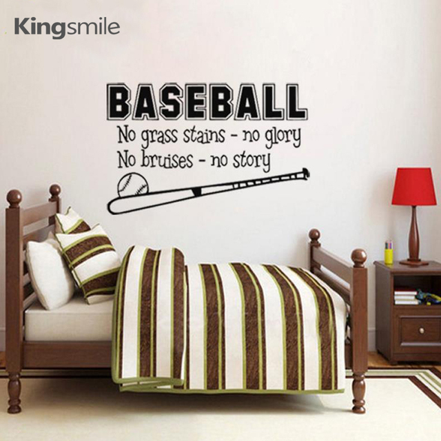 Modern Baseball Sports Wall Sticker Decals Inspiring Quotes Vinyl Art Stickers Poster For Kids Baby Room
