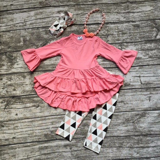 2016 Fall ruffle top boutique girls aztec pant long sleeves outfits roal baby kids wear set with matching headbow and necklace