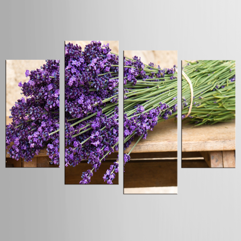 Beautiful 4 Panel purple lavender flower field canvas printings oil painting printed on canvas home wall art decoration picture