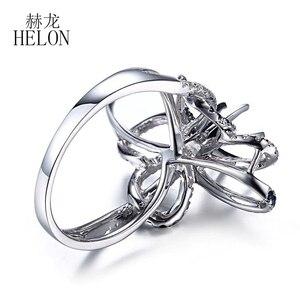 Image 5 - HELON 6.5mm okrągły Cut stałe 10 K białe złoto 0.6ct naturalny szafir i diamenty Semi Mount pierścionek zaręczynowy ślub biżuteria z kamieni szlachetnych