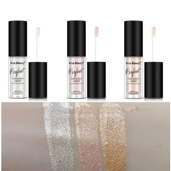 Women Face Beauty Gold  Liquid Cosmetic Face Eye Contour Brightener Glow Shimmer Liquid Highlighter Makeup Bronzers & Highlighters