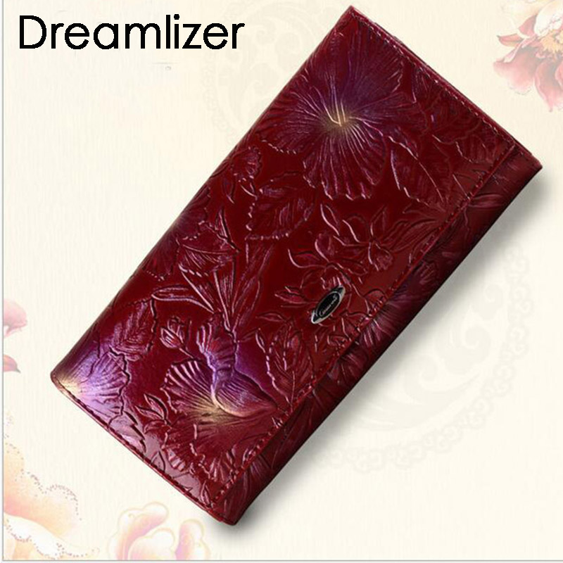 Brand Flower Pattern Real Genuine Leather Women Clutch Wallet Bifold Long Coin Bag Purse Wallet Female Fashion Card Holder Bag(China)