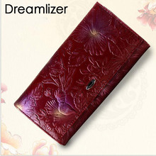 Brand Flower Pattern Real Genuine Leather Women Clutch Wallet Bifold Long Coin Bag Purse Wallet  Female Fashion Card Holder Bag mens gentleman black real genuine cowhide leather bifold clutch wallet coin purse pouch id card dollar package indian head