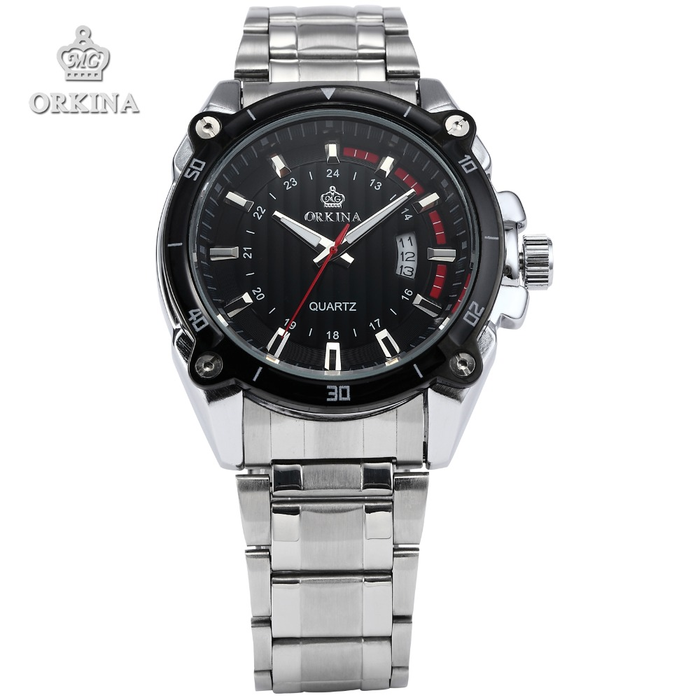 2 Colors Orkina Original Men's Clock Luxury Date Display Silver Stainless Steel Band Quartz Wrist Watches Gift Horloges Mannen orkina gold watch 2016 new elegant armbanduhr herrenuhr quarzuhr uhr cool horloges mannen gift box wrist watches for men