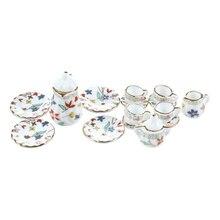 Новинка 15 шт. миниатюрный кукольный домик Фарфоровая столовая посуда Чайный набор посуда чашка тарелка Красочный цветочный принт