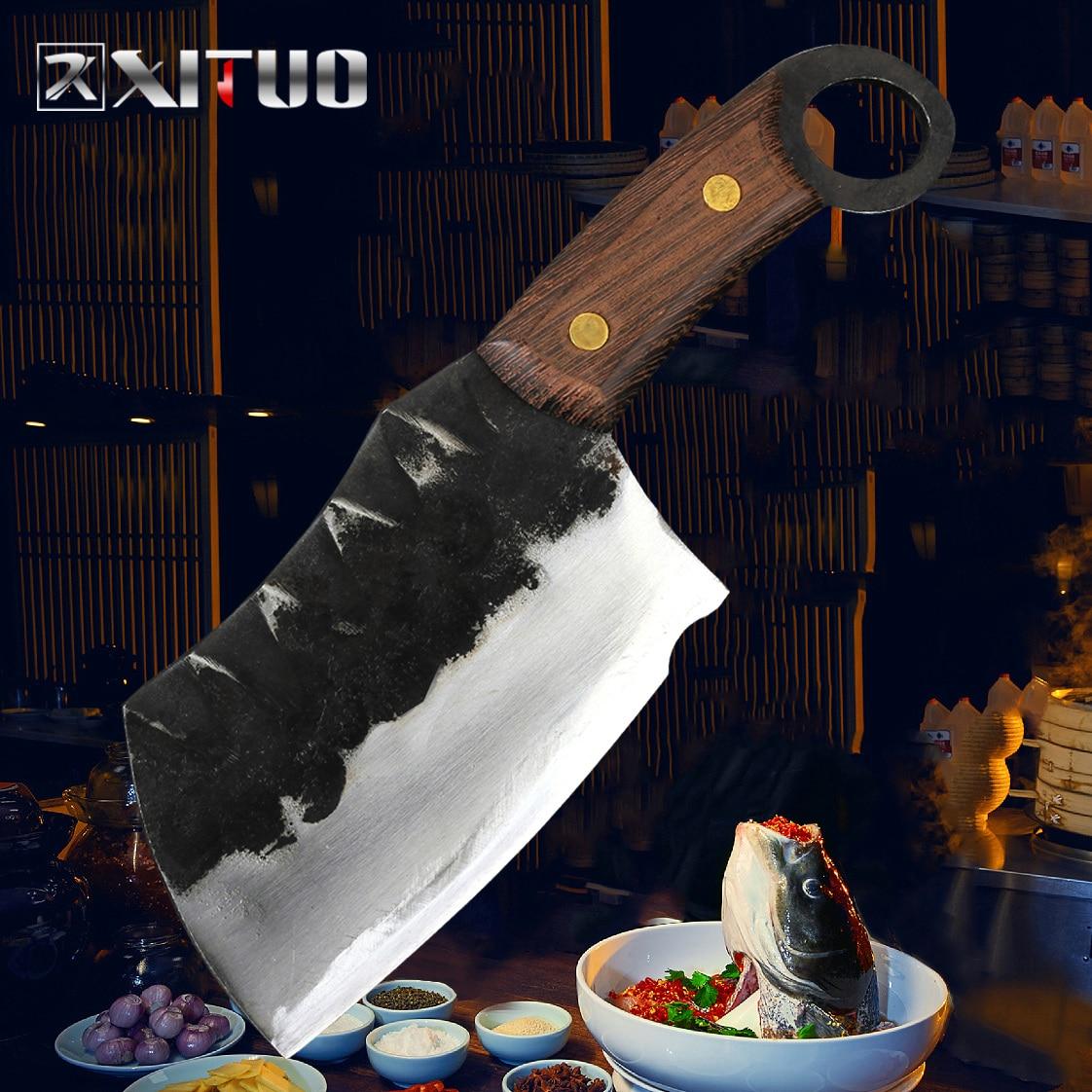 XITUO Handmade Knife Cleaver Forging Nakiri Japanese Clad-Steel High-Carbon Santoku Gyuto